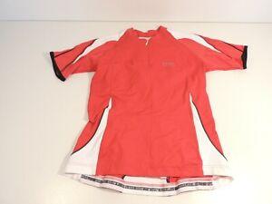 Gore Cycling Shirt Jersey Women Large Bike Wear Zip Red White Black Short Sleeve