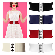 Women Ladies Waist Belt Elasticated Wide Classic Nurse Band Vintage Stretch