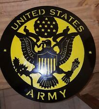 "UNITED STATES ARMY Metal Sign 16""  with yellow back Hand Made in Waco Texas"