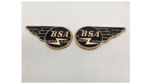 NewBSA Golden Flash Gas Tank Badges Emblems - Black/Gold Color Scheme...