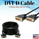 DVI-D to DVI-D Cable Dual Link Male to Male DVI 24+1 Pins Monitor Display Cord