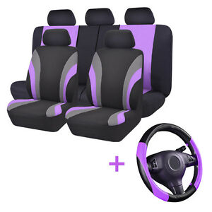 Universal Car Seat Cover Black Purple Steering Wheel Cover Set Airbag Compatible