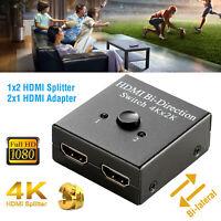 1x2 2x1 HD 4K Bi Direction HDMI 2.0 Switch Switcher Splitter Hub HDCP 3D 1080P