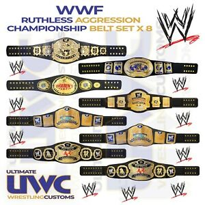 WWF WWE Ruthless Aggression Belts Custom Set x 8 for Mattel/Jakks/Elite Figures