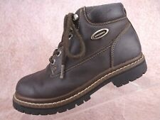 Vtg 90s Skechers Brown Leather Chunky Hiking Jammers Retro Ankle Boots Us 6 Uk 3