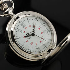 Antique Mens Silver Smooth Quartz Pocket Watch Full Hunter Neckalce Chain Gifts
