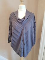 Marks & Spencer Grey Evening Top Pretty Layered Lagenlook Blouse Top Size 12