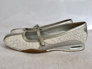 Cole Haan White Basket Weave Leather Silver Trim Air Bria Mary Jane 8B Shoes