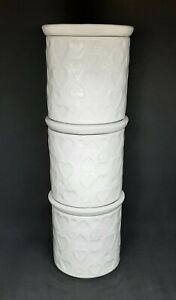 Dunelm Heart Embossed Stacking Canisters Set of 3 White Ceramic Pots with Lids