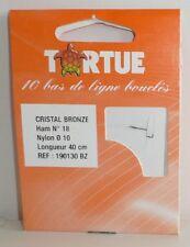 Hameçons montés Tortue N°18 0,10mm cristal bronzé par 10