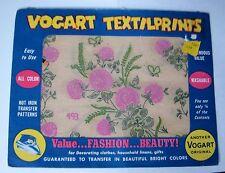 Vintage VOGART TEXTILPRINTS Iron-On Transfers #493 PINK CLOVER - so RETRO - NEW