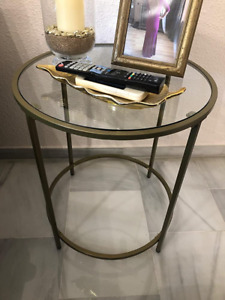 Round Industrial Side Table Vintage Modern Style Metal Glass Coffee End Stand