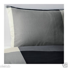 Ikea Twin Brunkrissla Duvet Cover & Pillowcase Black Gray Bedding Bed Set