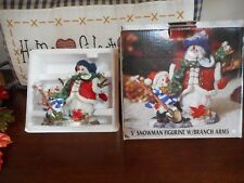 "Traditions 5"" Snowman Figurine w/Branch Arms Ex Cond Holiday Christmas Winter"