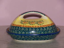 Genuine UNIKAT Polish Pottery Fancy Butter Dish! Mama Rose Pattern!