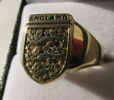 9ct Yellow Gold Three Lions England Ring 8.8g Size Z Us 12.80 Nicest Vintage