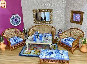 1:6 Dollhouse cane rattan living room set Blue Roses - Barbie scale