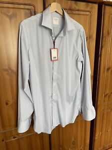 Thomas Pink Graph Check Shirt Size 16.5 Blue Athletic Fit Brand New With Tags