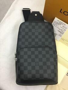 100% Authentic Louis Vuitton Avenue Sling Bag Damier Graphite Canvas