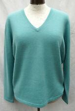 100% Kaschmir Pullover grün Gr.40 LAURA DI SARPI meeresgrün V-Ausschnitt LUXUS