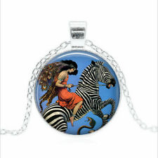 Zebra and Flapper Tibet silver Glass dome Necklace chain Pendant Wholesale