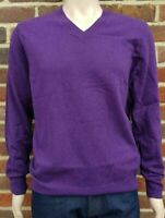 Men`s V-Neck Lambswool Jumper w/ Elbow Patch Size Medium Purple Sweater