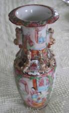 """19th Century Rose Medallion 10"""" Fu Dogs and Dragons Relief Vase"""