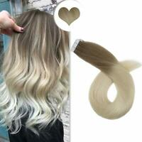 Ugeat Tape in Human Hair Extensions Dip Dyed Blonde 18/60# 50gr 20pcs Real Hair