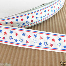 "US SELLER - 10 yds x 5/8"" Grosgrain Patriotic Stars Ribbons for Hair Bows 5R12"
