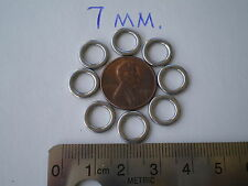 100 PCS. HEAVY DUTY STAINLESS STEEL SOLID RING 7MM. I.D. 400 LBS. TEST.