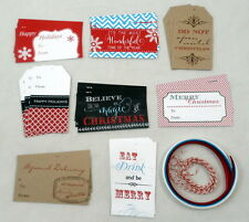 Lot of 24 Christmas Holiday Handmade Gift Package Bag Tags and Ribbon Strings