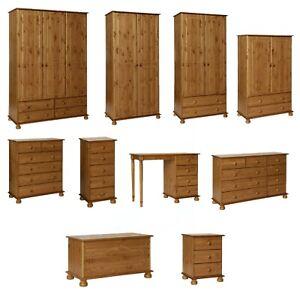 Solid Pine 2 3 Door Double Triple Wardrobe with Drawers Bedroom Furniture Set