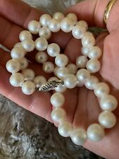 Lovely Natural Estate 8.5-9.5mm 14kt Gld Clasp Pearl Necklace. Wow!