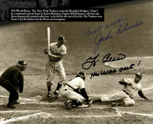JACKIE ROBINSON 8X10 SIGNED PHOTO PICTURE 1955 WORLD SERIES REPRINT