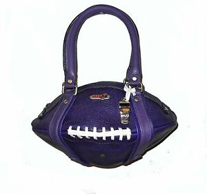 NEW Red24 Purple Leather FOOTBALL PURSE Hand Bag+Whistle Vikings Ravens NFL