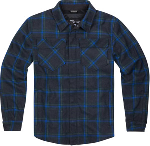 Icon Upstate Mens Blue Flannel Motorcycle Riding Casual Button Down Zipper Shirt