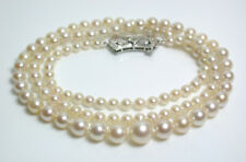 Vintage AAA 3.1-7.1mm Akoya saltwater pearl, diamond & 9ct white gold necklace