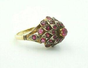 Vintage Antique 14k Yellow Gold Ruby Cluster Harem Princess Ring Size 7.75