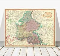 Vintage Cary Map of Bavaria & Salzburg GERMANY 1799 Poster CANVAS PRINT 24x18""