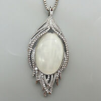 Betsey Johnson White Opal Crystal Peacock Feather Pendant Sweater Necklace
