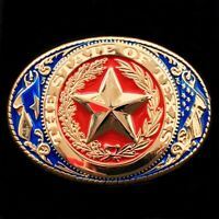 "🌟Texas State Seal Western Belt Buckle, Gold Tone w Red White Blue, 3.5"" x 2.5"""