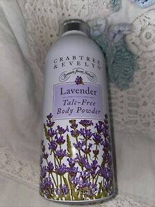 New Sealed Cannister Crabtree & Evelyn Rare Lavender TALC FREE Body Powder 75g