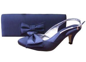 Ladies Wedding Party Low Heel Shoe Evening Shoes Diamante Navy Blue Satin NEW