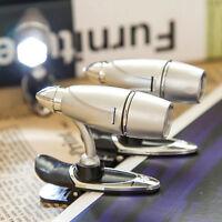 Mini LED Clip on Booklight Flexible Travel Book Reading Spot Light Lamp UK FO