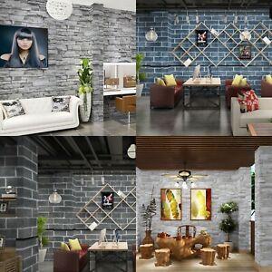 10M Rustic Brick Wallpaper 3D Stone Textured Wall Self Adhesive Roll HomeDecor