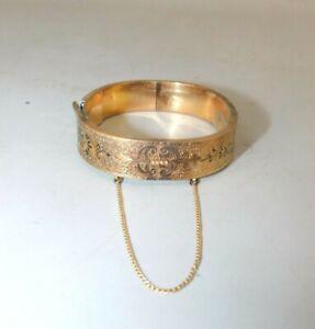 Vintage 14k Yellow Gold Etched Bangle Bracelet (damaged/broken) 22.4 g