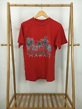 VTG 1985 Super Cru Men's Hawaii Poly Tees Red Short Sleeve T-Shirt Size L USA