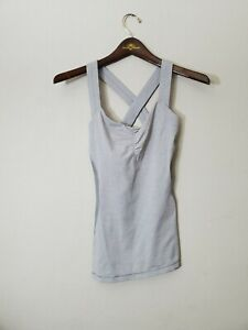 LuluLemon  Gray/White Active Tank Top with Pink Back Strap Women's Size 6
