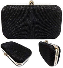 Black Evening Glitter Clutch Bag Sparkly Wedding Bridal Party Prom Chain Strap