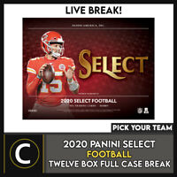 2020 PANINI SELECT FOOTBALL 12 BOX (FULL CASE) BREAK #F692 - PICK YOUR TEAM